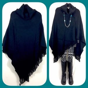 Sale! Thick Black Turtleneck Fringe Poncho