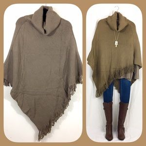 Sweaters - Sale! Thick Taupe Turtleneck Fringe Poncho