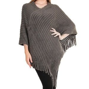 Sweaters - Sale! Grey Solid Knit Fringe Poncho