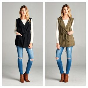 Jackets & Blazers - New Arrival- Plus Size Hooded Utility Vest