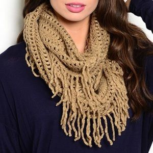 Accessories - Host Pick!!  Taupe Fringe Infinity Scarf