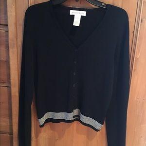 Jones New York Black V Neck Button Down Sweater-M