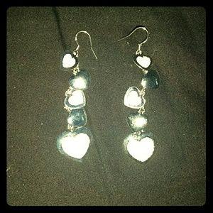 Jewelry - *Sparkling, Silver, Dangle, Heart Earrings*