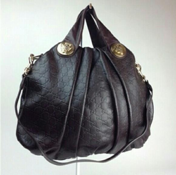 0e7412e2e96 Gucci Handbags - Gucci Brown Embossed Guccissima leather