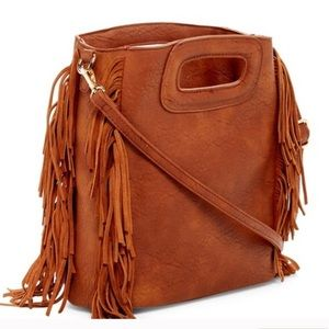 ✳️ Pink Haley Honora Fringe Suede Cross-body Bag