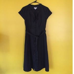 Merona black short sleeve belted dress