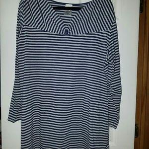 Blue & Gray Striped Tunic