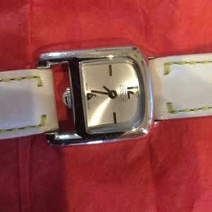 Coach Accessories - Coach watch with white leather band
