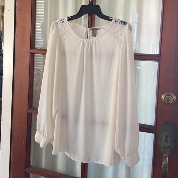 c4dfc4a0a4c13c H&M Tops   White Chiffon Blouse Long Sleeve Size 18 Or 1x   Poshmark