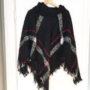 Jackets & Blazers - Black Plaid Poncho