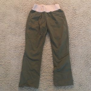 Gap Maternity Demi Panel Olive Green Crop Pant