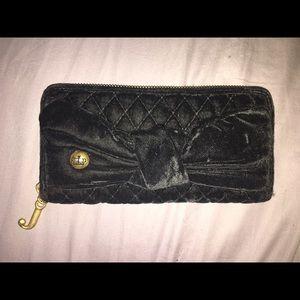 Juicy couture velvet black wallet with gold zipper