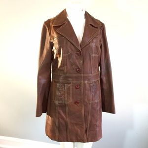 Wilsons Leather Jackets & Blazers - Distressed Vintage Brown Leather Coat