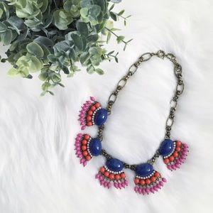"Erica Rose Jewelry - ""Mollie"" Necklace    Navy Fan Fringe Statement"