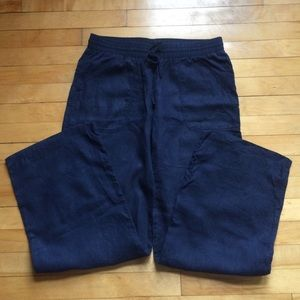 Allen Allen Pants - Navy blue linen pants