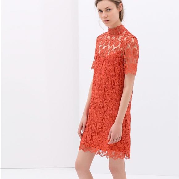 e393529c5 Zara Dresses | Blood Orange Crochet Dress | Poshmark