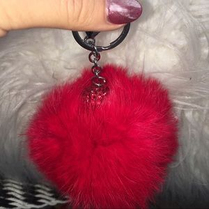 Red fur ball keychains