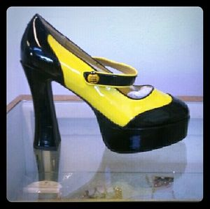 ellie Shoes - Yellow and Black 5 inch platform  heel
