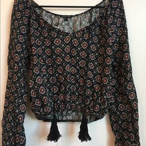 Black Red and White Detailed Peasant Top!