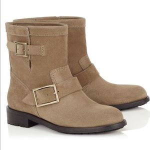 Jimmy Choo Shoes - Jimmy Choo Youth Nude Textured Suede Biker Boots