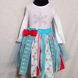 Handmade ribbon skirt w/snowflake tee NWOT