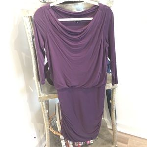 THEORY SCOOP NECK PURPLE FORM FITTING DRESS