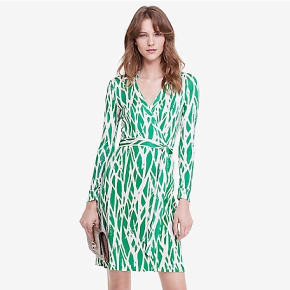 be2f9cca8fb55 Diane von Furstenberg Dresses   Skirts - DVF Green Twigs New Jeanne Two Wrap  Dress