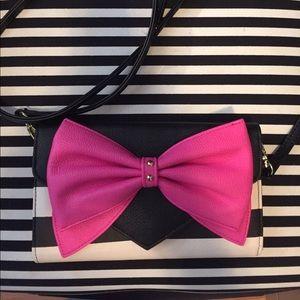 Betsey Johnson Hot Pink Bow Black & White side bag