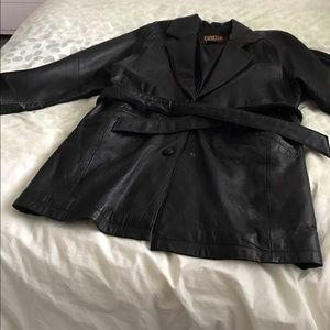 Jackets & Blazers - Leather Coat Black EUC