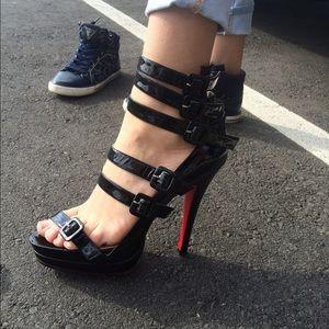 Patten leather sandals