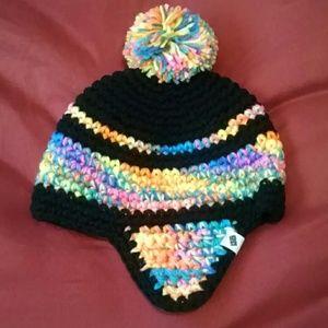 Handmade neon/black knitted beanie