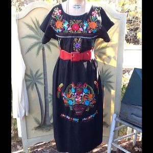 Vintage Dresses & Skirts - VTG HEAVILY EMBROIDERED MEXICAN HIPPIE BOHO DRESS