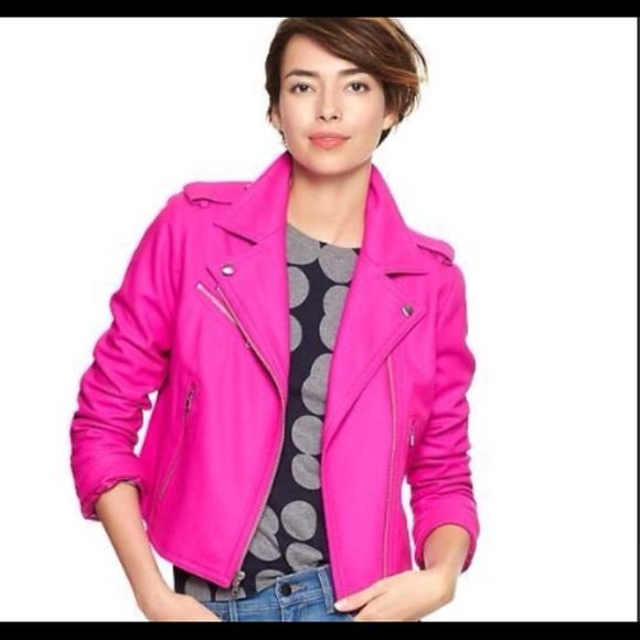 29% off GAP Jackets & Blazers - M Gap fuschia/hot pink wool moto ...