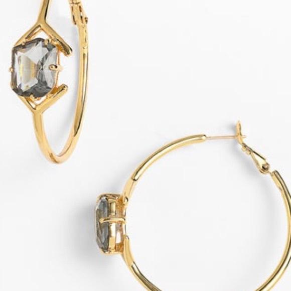 off kate spade Jewelry Kate Spade Stone Hoop Earrings Gold
