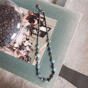 Glass Beaded & Silver Necklace
