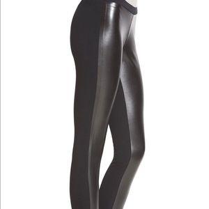 Fashion Faux Two-Tone Leather Leggings
