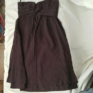 J. Crew Brown strapless silk  dress size 2