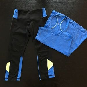 Lululemon Colorblock Tank & Crop Pants Set
