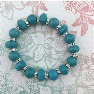 Paved Crystals Turquoise Beaded Bracelets