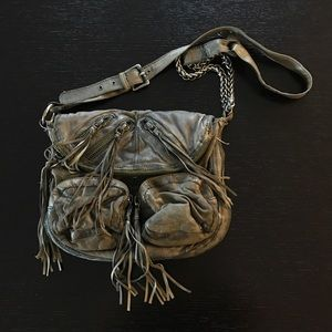 Tarnish Distressed Green Crossbody Bag w/Tassels