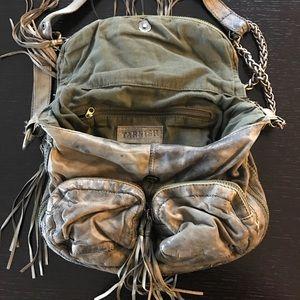 Tarnish Bags - Tarnish Distressed Green Crossbody Bag w/Tassels