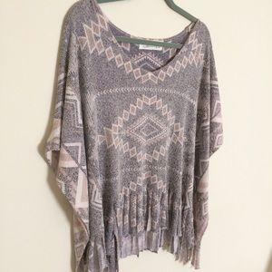 Vintage Havana Sweaters - Vintage Havana Fringed Knit Poncho Cape Sweater