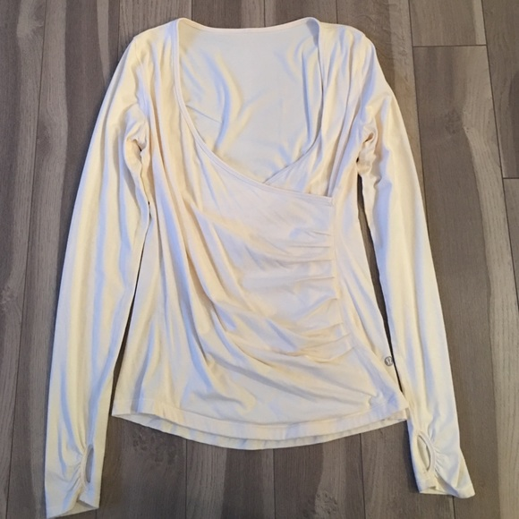 Lululemon Athletica Tops White Lulu V Neck Long Sleeve Wrap Shirt