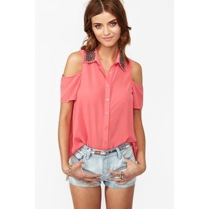 Nasty Gal Tops - CORAL CUTOUT SHOULDER TOP WITH STUDDED COLLAR