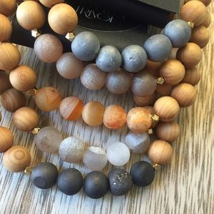 ✨Druzy and Sandalwood Bracelets