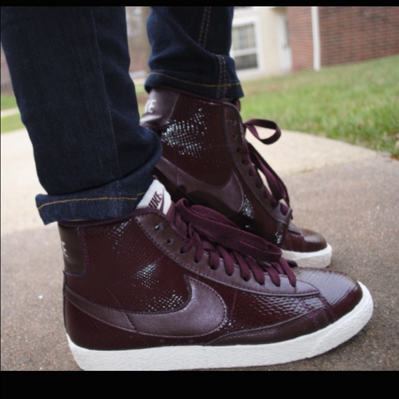 Nike Shoes For J Crew Burgundy High Top Sneakers Poshmark