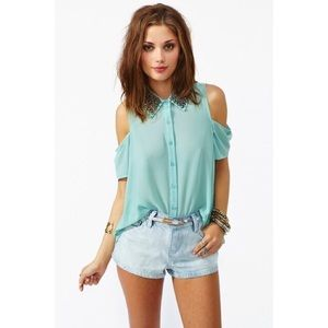 Nasty Gal Tops - MINT CREAM CUTOUT SHOULDER TOP WITH STUDDED COLLAR