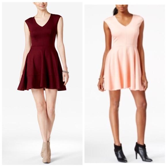 Bar Iii Dresses Hp Cap Sleeve Fit And Flair Blush Dress