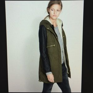 Zara jacket with quilted sleeves and fur lining