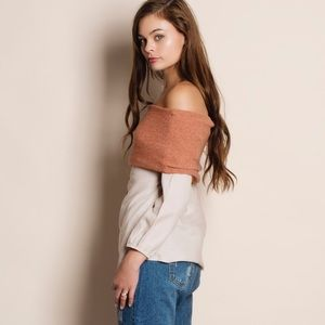 Bare Anthology Tops - Off Shoulder Button Down Top